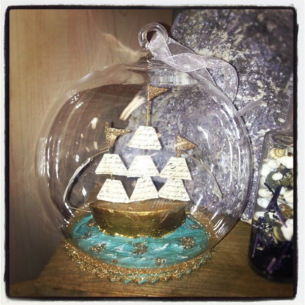 Oh! how I love thee, little #ship in a glass #ornament! #ornamentexchange #perfectgift #encinitas #soulscapelife