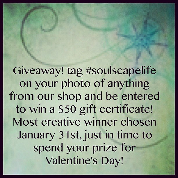 "Last few days! Look around and snap a picture of something from SoulScape! We hear all the time ""my house is adorned in Soulscape goodies!"" We want to see it! #showmethemoney #giveaway #soulscapelife #encinitas #freegift #valentine #instalove #picoftheday"