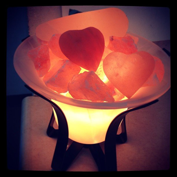 New salt lamps in today! This one warms 2 salt heats and a massage tool! We also got in rose quartz and amethyst just like this one, won't last long!