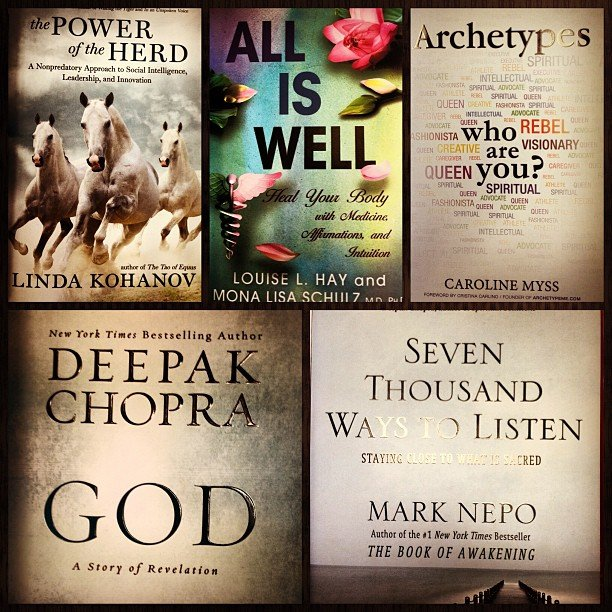 A few of our new best sellers, all of our favorite authors have been busy! Power of the Herd, All is Well, Archetypes, God, and Seven Thousand Ways to Listen. Hmmmm, which one should I start tonight?