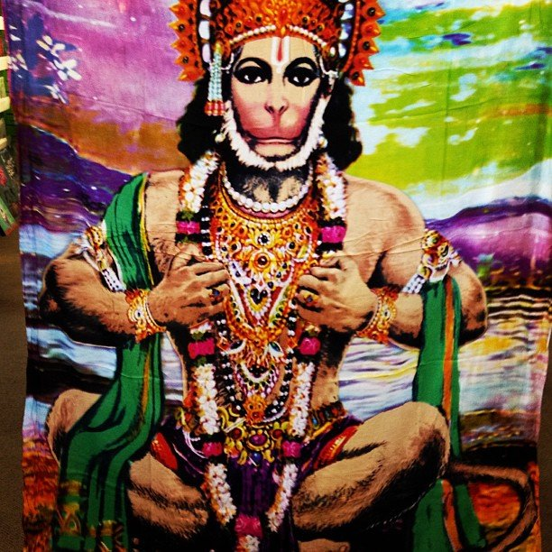 Oh my goodness, we got in 15 giant boxes yesterday full of goodies like this Hanuman tapestry, took us 2 days to unpack because we had to ohhhh and ahhhh over everything!