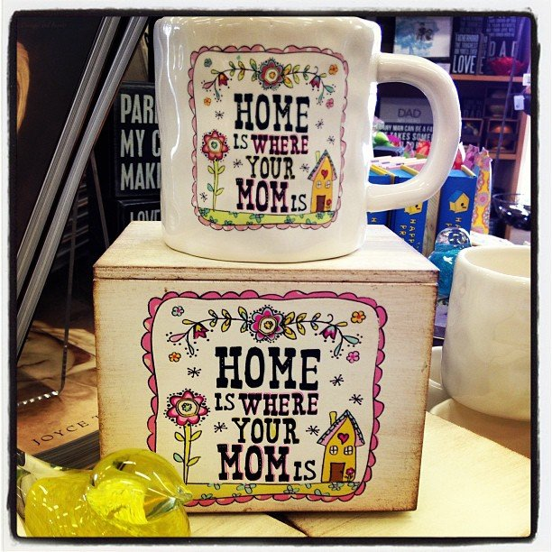 Home is where your mom is! these adorable mugs come with the matching gift box! Of course we will also gift wrap it for you! We have amazing Mother's Day, Graduation, and Teacher appreciation cards too!