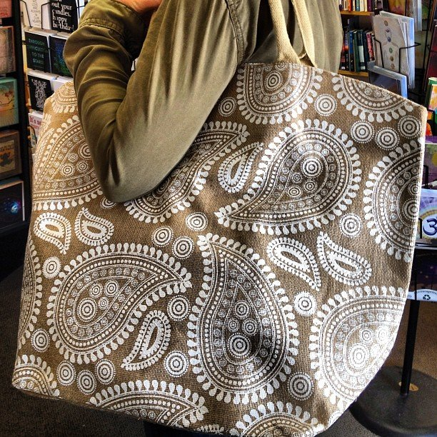 Our new Indian wood block inspired jute beach bags! Couldn't even get them on the floor before this customer grabbed one out of the office!