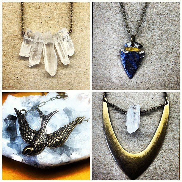 New jewelry just in! Quartz, brass, bronze, birds, arrowheads, compasses, harmonicas, bees, honeycomb, dragonflies, oh my! All made in Sonoma, California!