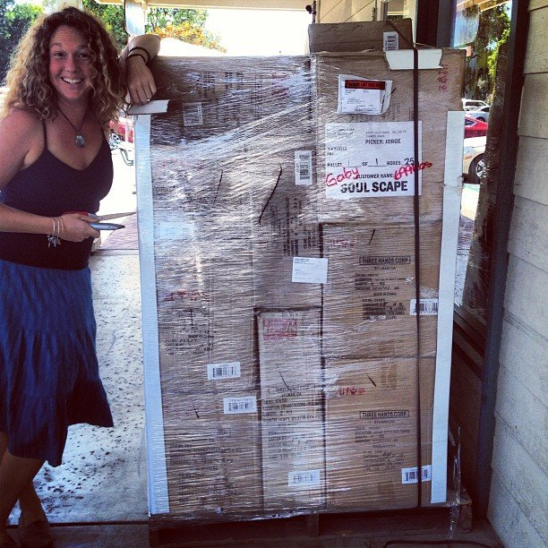 And so it begins! All our hard work shopping the summer shows is only the beginning of stocking the store for the fall! #pallets for days and days! Here's Bree about to tackle this one!