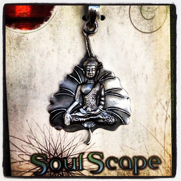 I can't help but love all the little treasures we stocked up on... This sterling silver pendant of buddha on a bodhi tree leaf steals my heart....