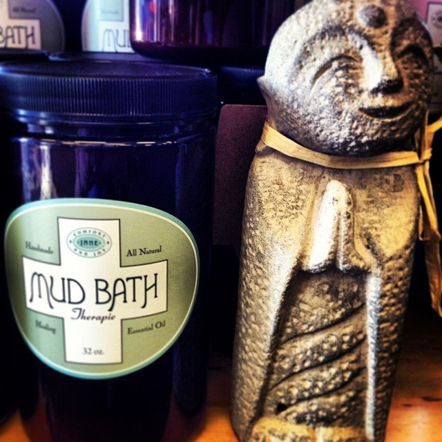 How about a #mudbath and a little #jizo statue?