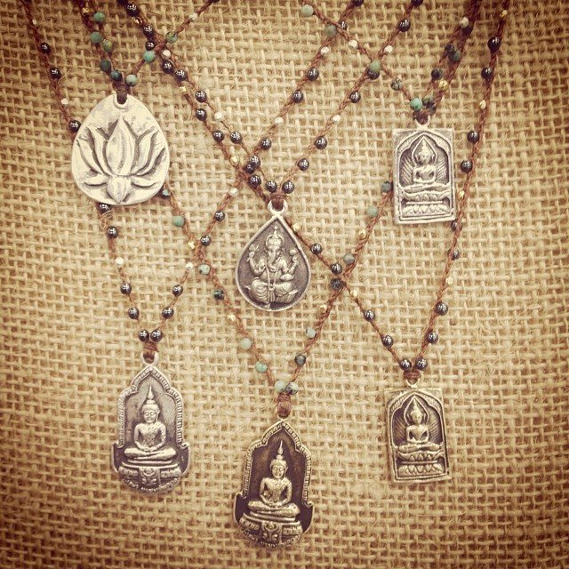 Love these #lotus #buddha and #ganesha necklaces! Hand knotted with #hematite and #turquoise beads. Perfect.