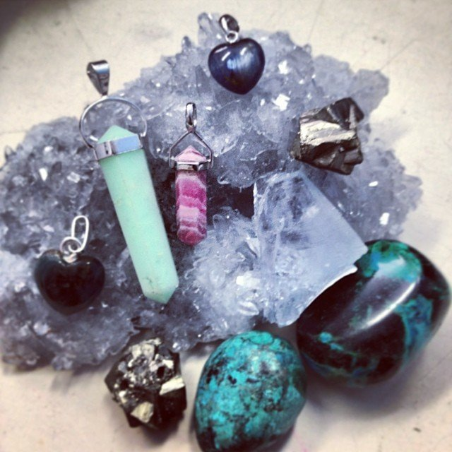 A few of my favorite little gems! #celestite #chrysoprase #rhodonite #apatite #kyanite #pyrite and #chrysocolla