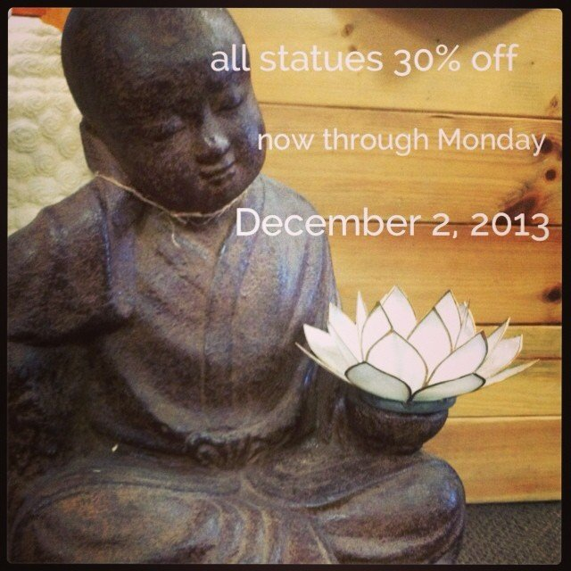 For me, Thanksgiving is about Gratitude, I feel very blessed to have so much to be grateful for. And with that, my statues in and around my house and garden get some special attention this time of year, a candle, some flowers, a little thanks to the powers that be. So in honor, all statuary is 30% off until the end of cyber Monday.