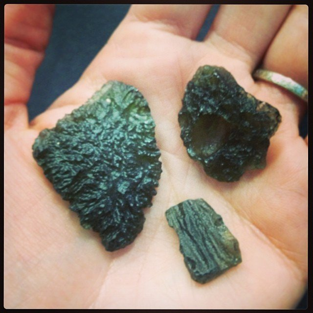 I  my days of putting out the crystals! #moldavite - the gem that fell to the earth 15 million years ago!