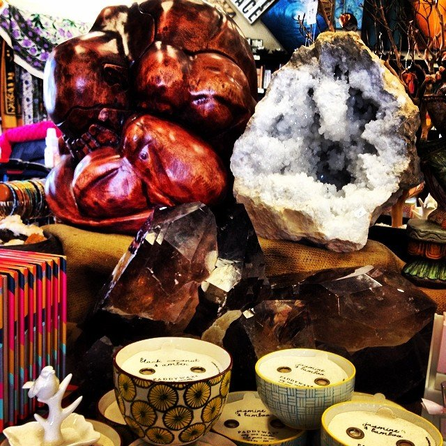 It's a weeping #buddha, #paddywax candle, giant #smokeyquartz cluster, Moroccan #calcite geode kind of day.