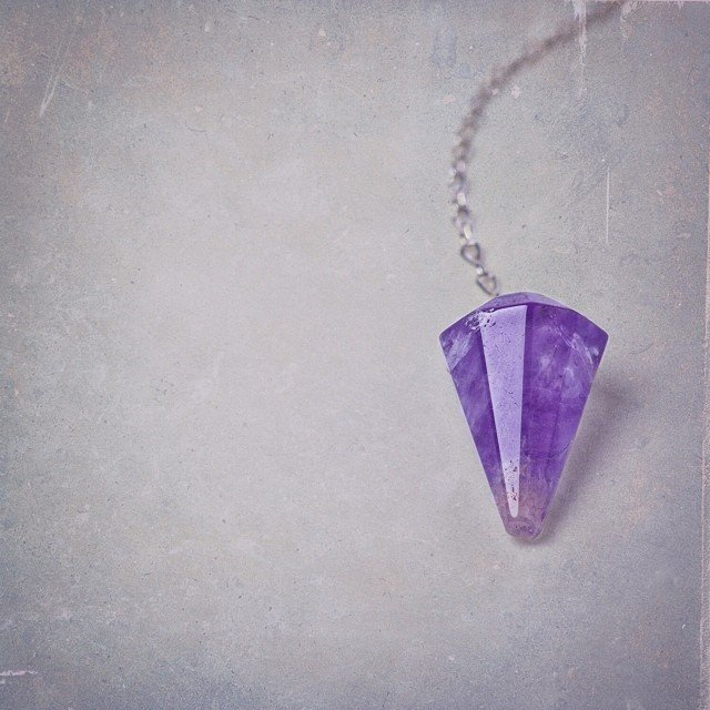 Yes... No... Yes. This is our simple amethyst #pendulum. I love seeing the beauty of it singled out from the rest. #amethyst is the stone for dreaming, spirituality, lending wisdom and contentment.