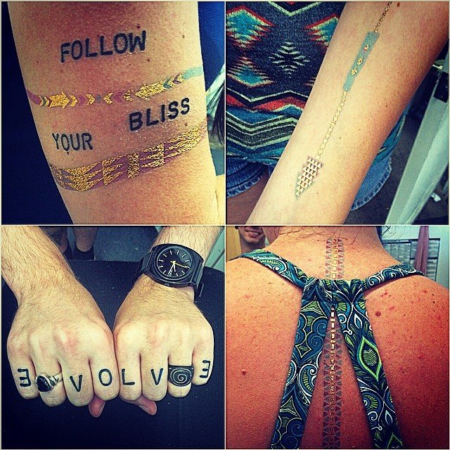 Monday fun-day! Mixing up our #consciousink temp tattoos with our arm candy #gold and patterned temp tattoos! Our huge shipment should be here Wednesday!