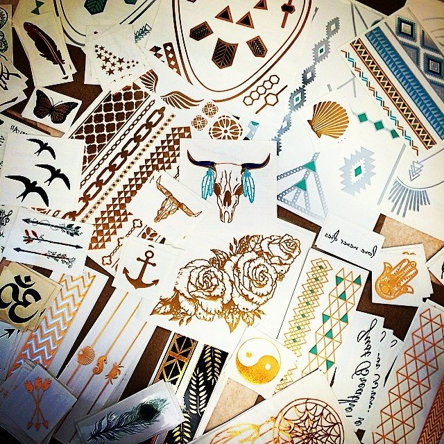 Just a few gold silver blue teal temporary tattoos... $2.95-$12.95!