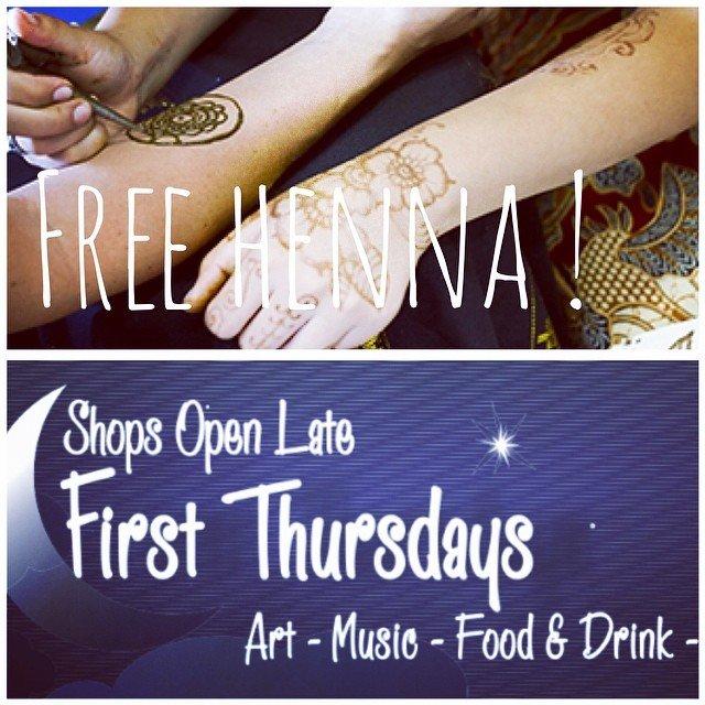 Tonight!!! FREE henna tattoos! 5-9pm!