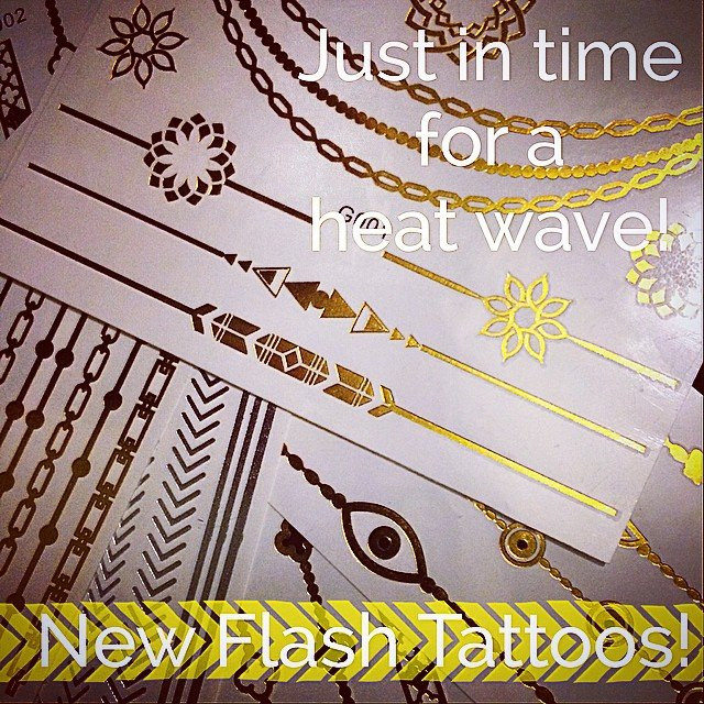 Hitting the beach this weekend? Leave your real stuff at home and put on some #metallictattoos instead! Waterproof and perfect for hitting the town later! They last between 3-5 days, and come off easily with some baby oil!