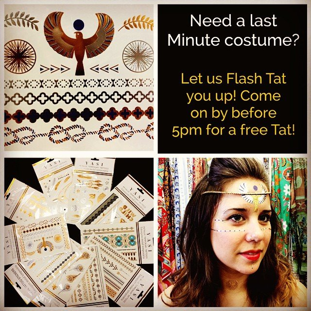 We had so much fun this morning putting tattoos all over us that we can't stop! If you need a #silvertattoo or a #goldtattoo to complete your outfit, come on by before 9pm and get a free #flashtat to shine tonight!
