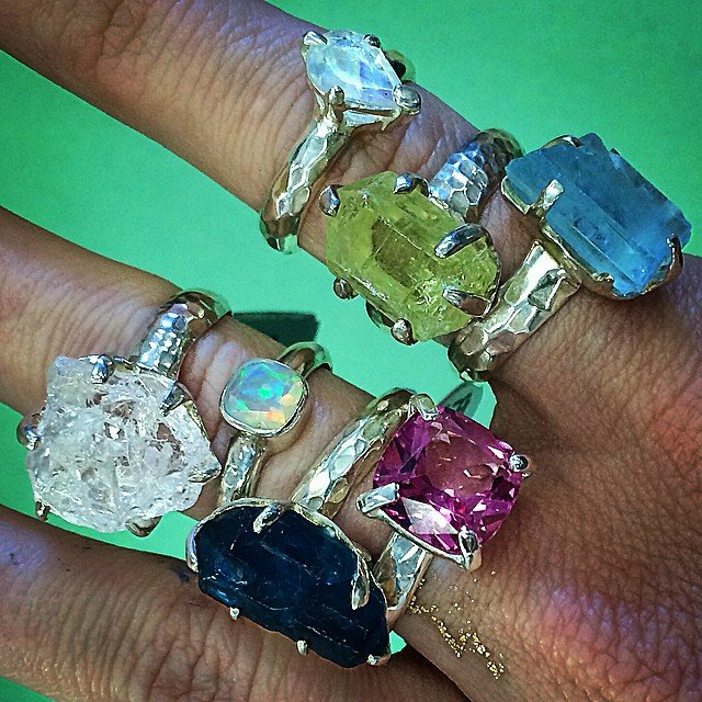 Does anyone one else's heart skip a beat looking at these? It's like candy to me, I want to eat them! Forget the diamonds... rainbow #moonstone, #aquamarine, #hiddenite, #apatite, pink #tourmaline, Ethiopian #opal, #danburite. Yum.