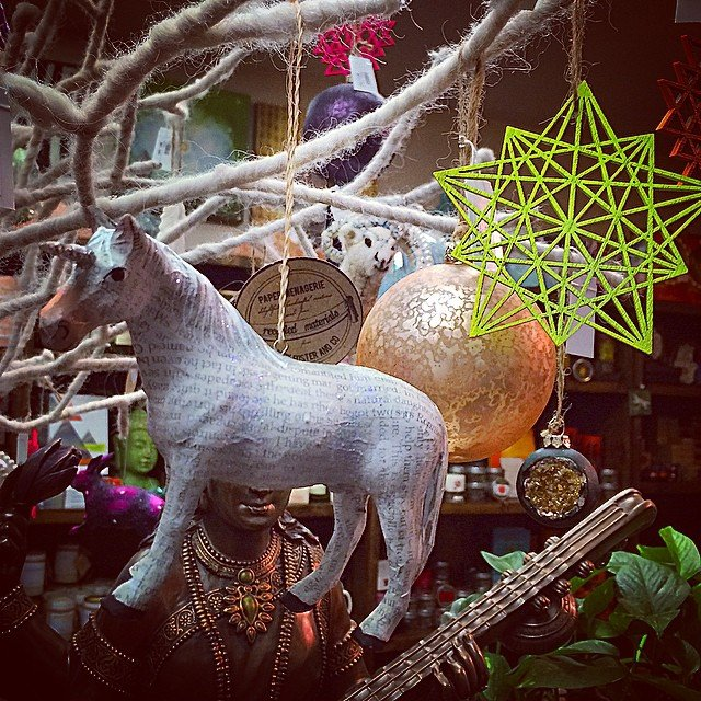 Who else has #unicorn and #sacredgeometry ornaments? Tonight is the last First Thursday of 2014!  20% off all ornaments until 9pm tonight!