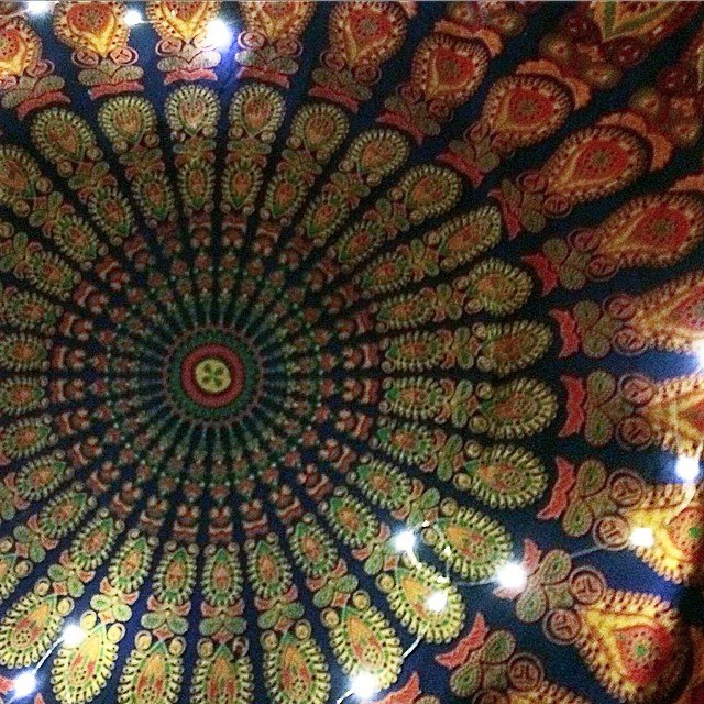 And then this happened.  #fairylights and a #mandala #tapestry hidden just to brighten my day.