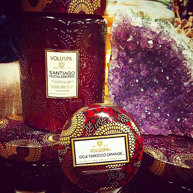 Just a couple of our favorites this season, loving the jewel tones of these #voluspa candles and #amethyst! And loving the 25% off special on all candles till tomorrow at 9pm!