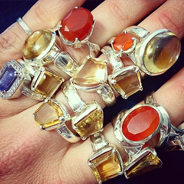 Just a few #citrine and two or three #carnelian rings to end this #mercuryretrograde.