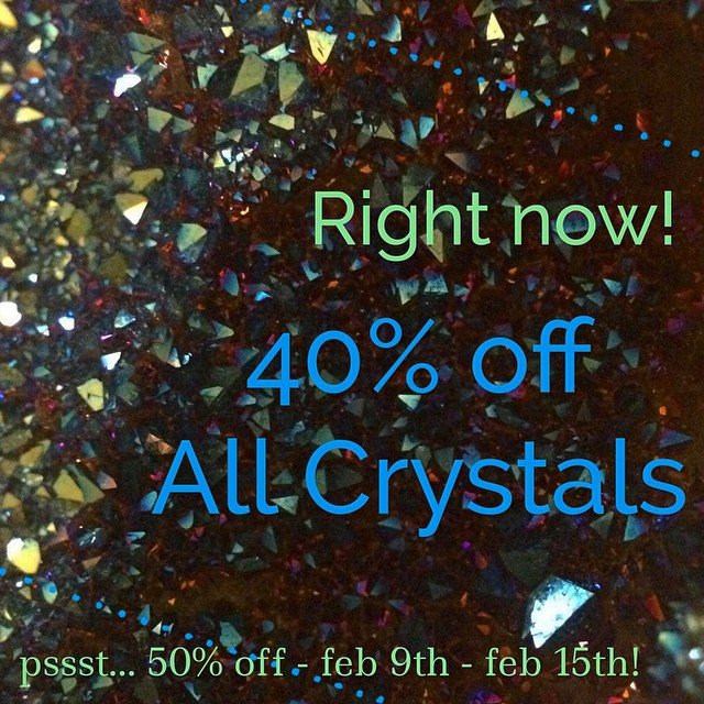 We are all done at the Tucson Gem + Mineral Show, a 16 foot storage pod is packed to the brim! So here's your chance to come get our current gems at 40% off, and next Monday through Sunday, February 15th - they all will be 50% off! (24 hour holds, all crystal sales are final at these discounts.) we can't wait to share our treasures with you. We found some AMAZING #crystals, #geodes, #selenite, #lemurian  #quartz, #apopholite, #APATITE, #SHUNGITE, #clusters, #smokeyquartz and heart stopping, make your mother curse, #ihavetohaveyou pieces that we couldn't leave behind.