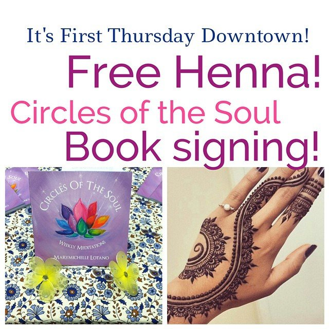 Come on by! Free henna and a book signing until 8 pm!