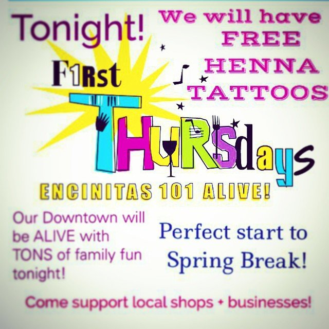 Tonight! Our First Thursdays are the perfect night to come down and check out some of the amazing businesses along the Coast Hwy 101. ️sunsets,  music,  art exhibits,wine + cocktails , so much more! we will have our henna artist in the store giving FREE #HENNA tattoos! Come on by!