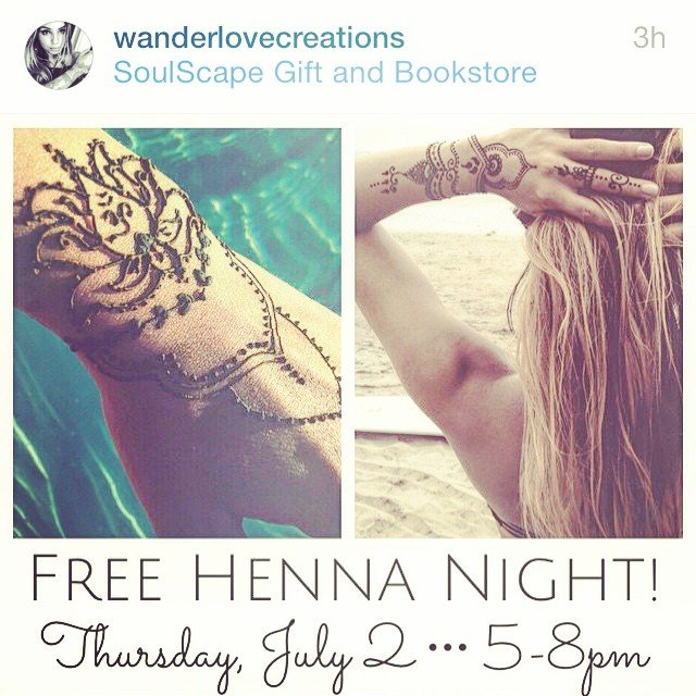This Thursday! Free henna tattoos from 5-8pm. We will be hosting the talented Bianca of @wanderlovecreations!