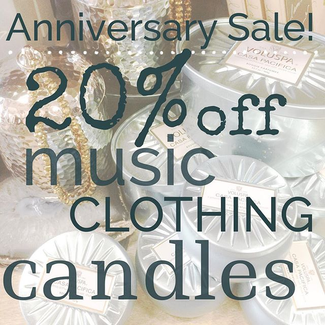 It's our 12th Anniversary! We are celebrating with 20% off all our favorites! ALL WEEK LONG! Sale ends 10/25/15. Come say hello!