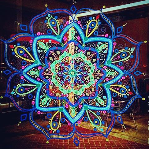 #Mandala Monday! The talented Erin Woodruff, @erinwoody143 came and painted our window! Next time you are having lunch at #lotuscafe sit outside and enjoy it! Maybe not today though....