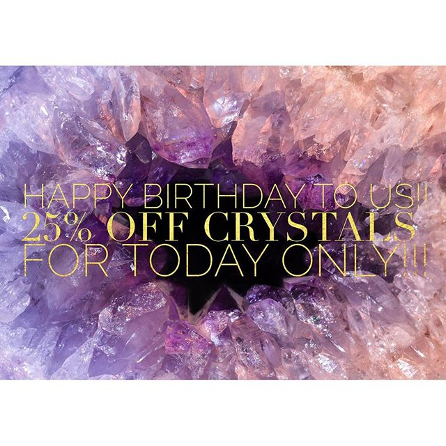 It's our #anniversary ! We've been in this thing #13 years together. Can you believe that?! We want to #celebrate all of you #moongoddesses , #dreamers , #believers in the unseen and #revelers of the light ! Today only (October 17, 2016), enjoy 25% off #crystals ! This sale is good for today only, extensions and holds are not available, offer good while supplies last, offer good for loose crystals only (salt lamps, water bottles, grid sets and jewelry among exclusions), other exclusions apply.