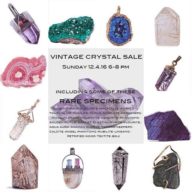 Come sip #Champagne with fellow #Crystal #Queens & #Kings as we debut this #rare #estate #mineral & #jewelry collection on Sunday 12.4.16 6-8 pm.In addition to the opportunity to #shop this rare collection, you will also enjoy 20% off our current #rock & mineral inventory during the event. 20% off excludes estate collection. Psst! Keep an eye out for #blackfriday and #smallbusinesssaturday #deals !