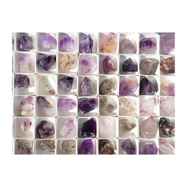 Our #Tucson #treasures are slowly finding their way to our #crystal cases! Check out the #brandberg #amethyst #beauties we are working on getting out! #scepters #elestials and #doubleteeminated ! Oh my!