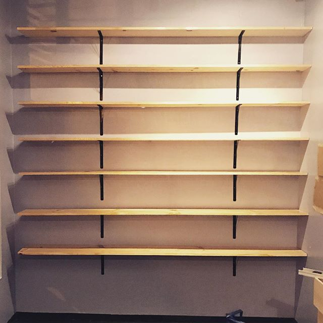 7 empty shelves, hmmm, what should I fill them with? If you know me at all, there's only one answer to that question. And if you know that answer, I'm sure you can guess what my secret project is.