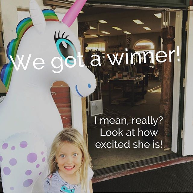 Thanks everyone for coming to see #sprinkles the unicorn! This little cutie and her mom are the winners of a unicorn mug of #magic! @gabbylovesbirds come on in to claim your prize!