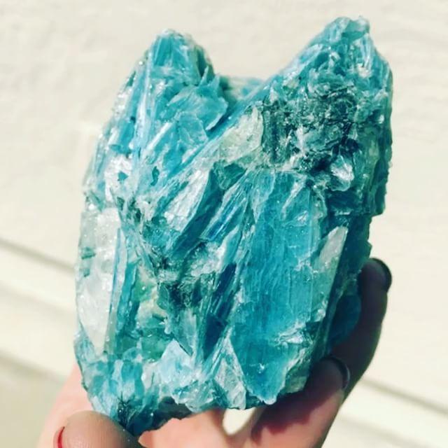 Ocean #kyanite. My favorite find in Tucson. The color is insane teal blue. So gemmy with #quartz and #blackKyanite + bits of #greenKyanite.