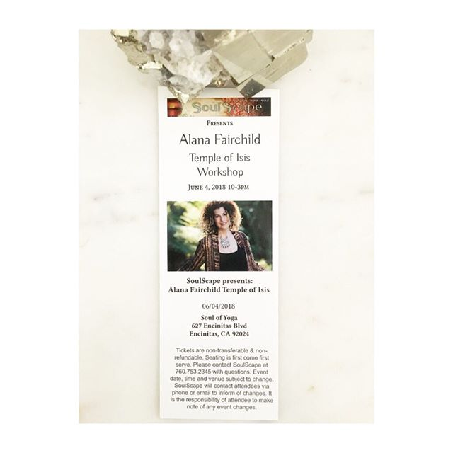 Friendly reminder that the @alana_fairchild #templeofisis workshop will be held at the Soul of Yoga 627 Encinitas Blvd Encinitas, CA 92024 on Monday June 4, 2018. Check in and will call tickets will be available beginning at 9 AM and the event starts at 10AM. We're so excited!!!!!  we were able to release a few more tickets and have 9 remaining spots. These will likely be gone by the end of the weekend.  Questions? Give us a call 760-753-2345