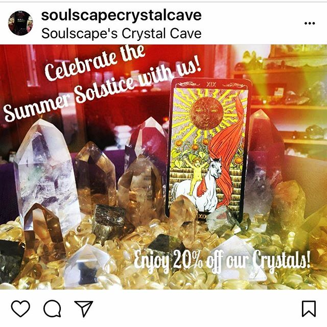 20% off all the crystals at our Crystal Cave today! Pop over across the street from SoulScape and help us celebrate the longest day of the year!
